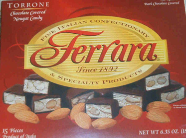 Ferrara Torrone - dark chocolate covered nougat candy