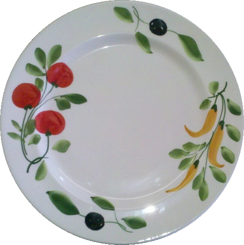 "Large ""Pasta"" plate, olive/pepper/tomato pattern"