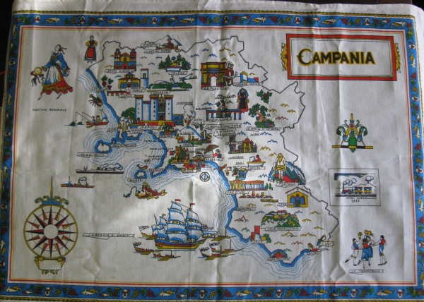 Map of Italian Regions Table Cloth or Wall Hanging