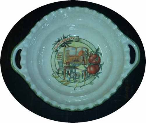 Oval Pasta Serving Bowl with handles - Scene of Florence