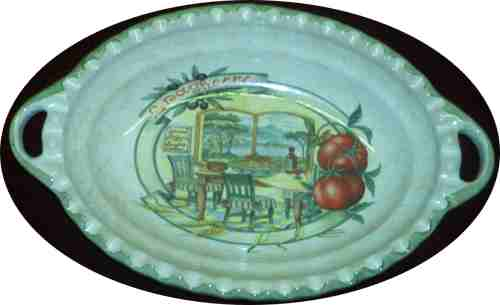 Oval Pasta Serving Bowl with handles - Scene of Napoli