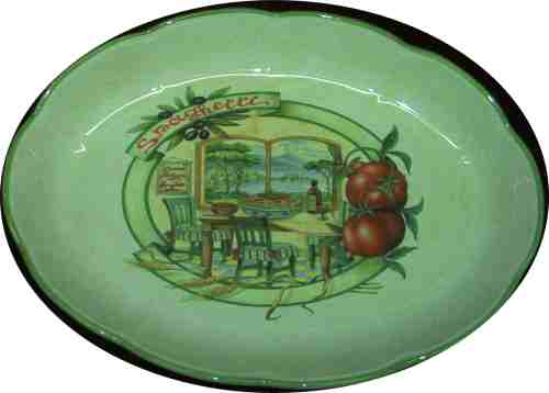 Oval Pasta Serving Bowl - Scene of Napoli and Mt Vesuvious