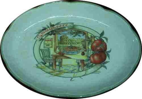 Oval Pasta Serving Bowl - Scene of Rome