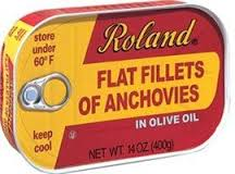 Roland flat fillets of anchovies, packed in olive oil, 14 oz.