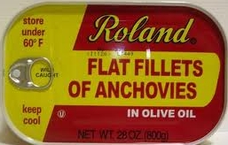 Roland flat fillets of anchovies, packed in olive oil, 28 oz.