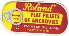 Roland flat fillets of anchovies, packed in olive oil, 2 oz.