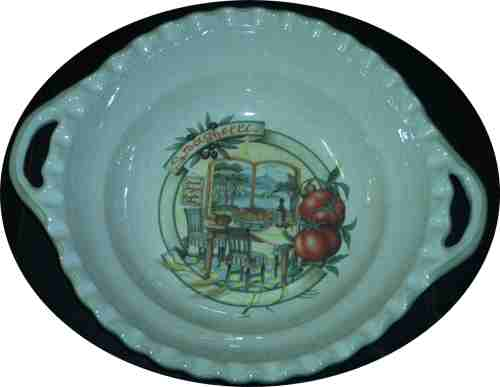 Round Pasta Serving Bowl with handles - Scene of Napoli