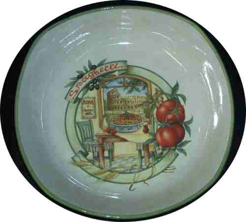 Round Pasta Bowl with squared edges - Scene of Roma
