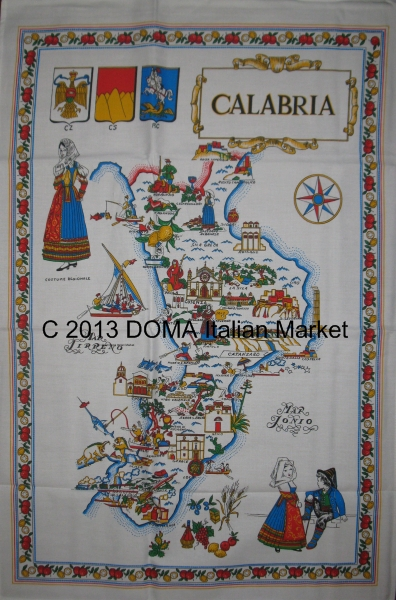 Map of Calabria Table Cloth or Wall Hanging